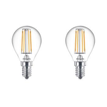 Korting Philips Led Lamp Filament Set 2 Stuks Classic Lustre 827 P45 Cl E14 Fitting 4.3w Warm Wit 2700k Vervangt
