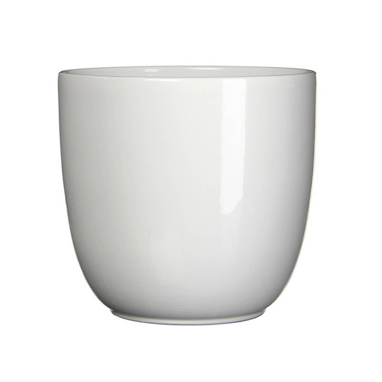Bloempot Glans Wit Keramiek Voor Kamerplant H9 X D10 Cm - Plantenpotten