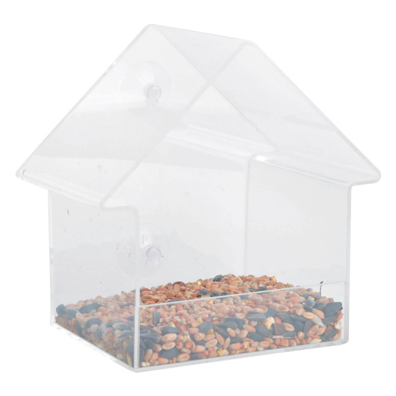 Merkloos Kunststof Vogel Raamvoederhuis/voedersilo Transparant 15 Cm Vogelvoederhuisjes online kopen