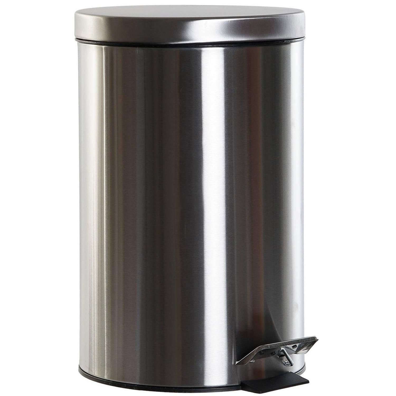 Vuilnisbak/pedaalemmer Zilver 12 Liter 40 Cm Rvs - Prullenbakken