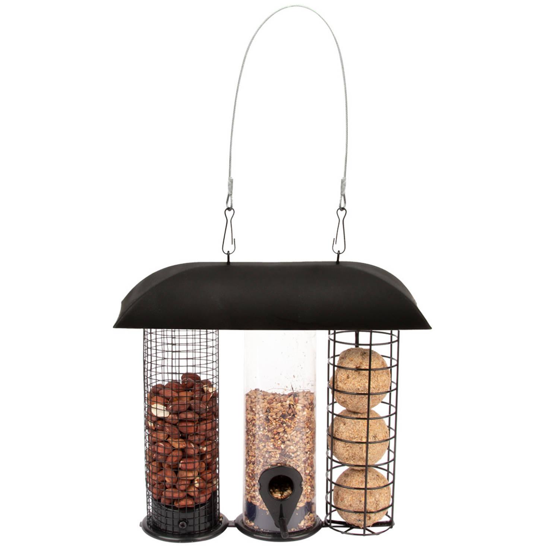 Best For Birds Metalen Drie-in-een Voedersilo Zwart 24 Cm Vogelvoederhuisjes online kopen