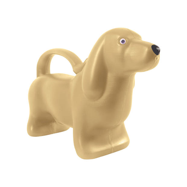 Kunststof dieren gieter gouden teckel 2 liter - kindergietertje- Tuingieters/plantengietertjes