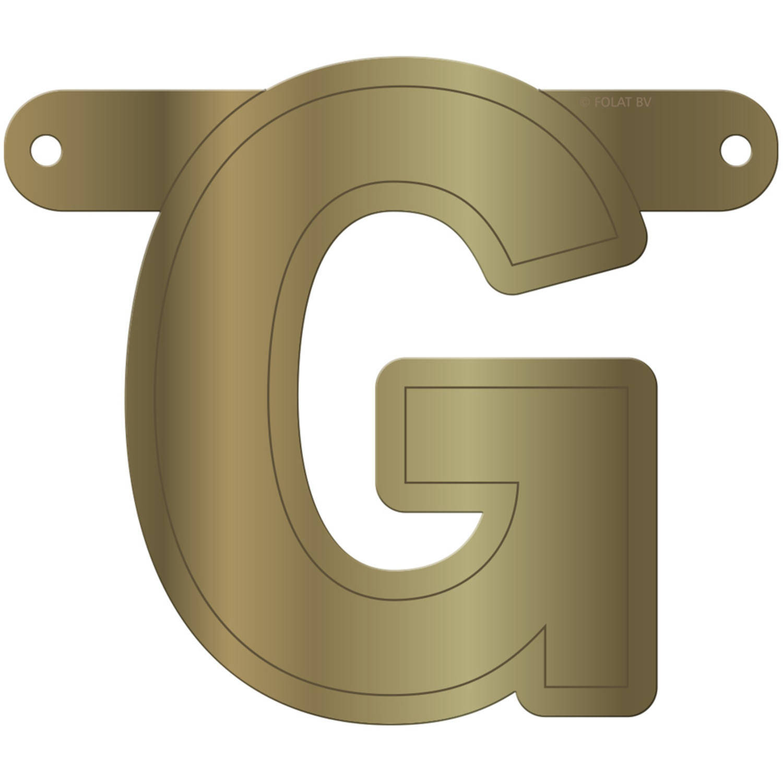 Korting Folat Banner Letter G 12,5 X 11 Cm Karton Goud