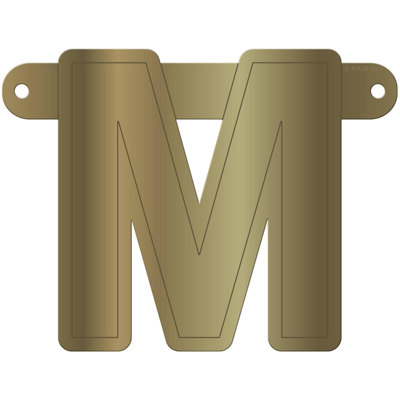 Korting Folat Banner Letter M 12,5 X 11 Cm Karton Goud