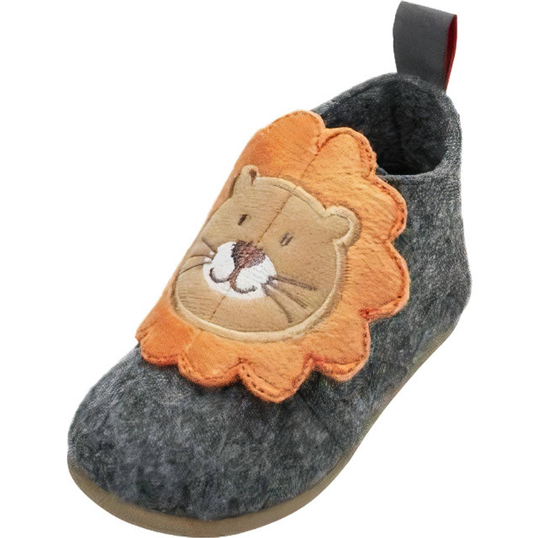 Playshoes Pantoffels Leeuw Junior Vilt/textiel Grijs/bruin Mt 28 online kopen