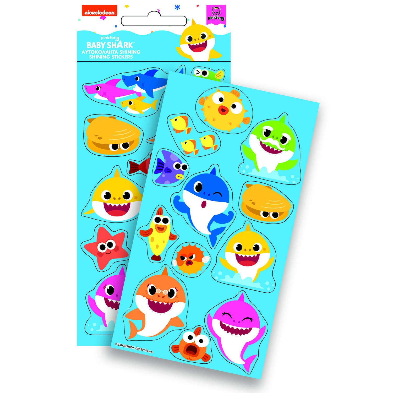 Korting Pinkfong Stickers Baby Shark Glans 10 X 21 Cm Junior Foam