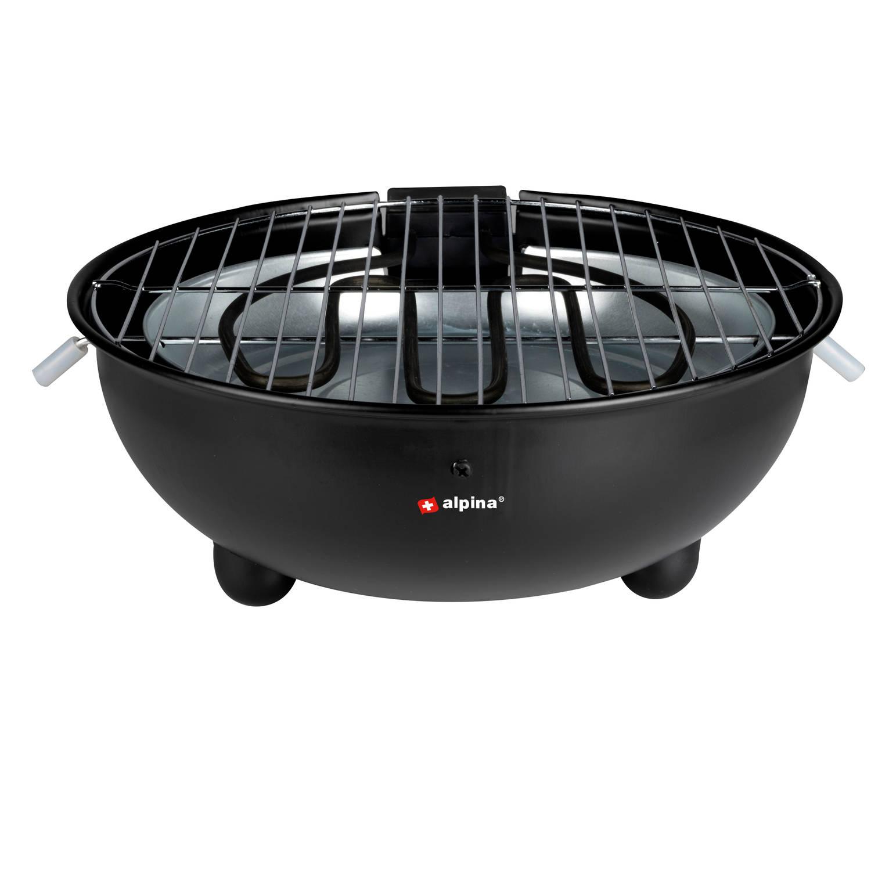 Alpina Elektrische Bbq - Tafel-barbecue - Geen Rook - Binnen Barbecueen - 1250w - Ø 30 Cm - Zwart