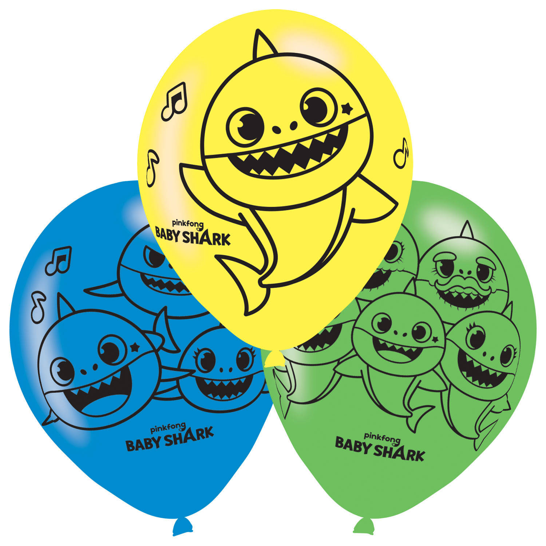 Korting Pinkfong Ballonnen Baby Shark Junior 27,5 Cm Latex 6 Stuks