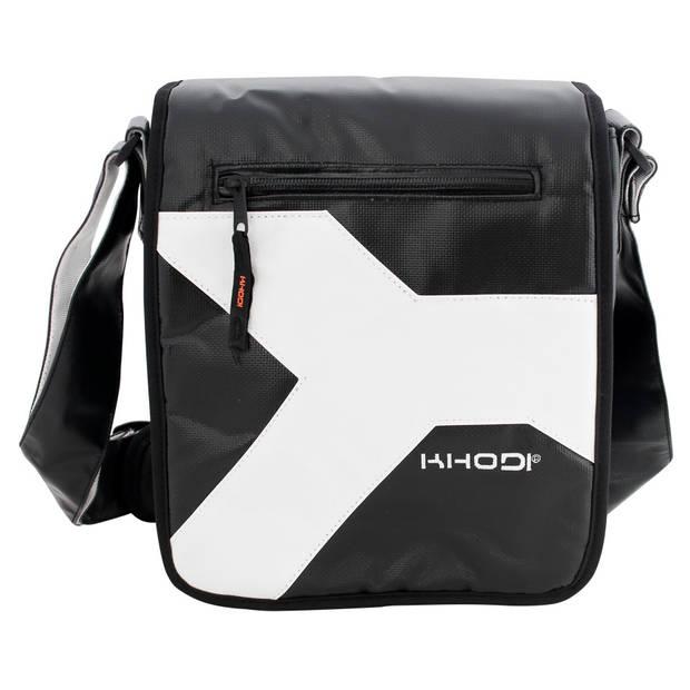 Khodi schoudertas A-side 42 x 31 cm tarpaulin zwart/wit