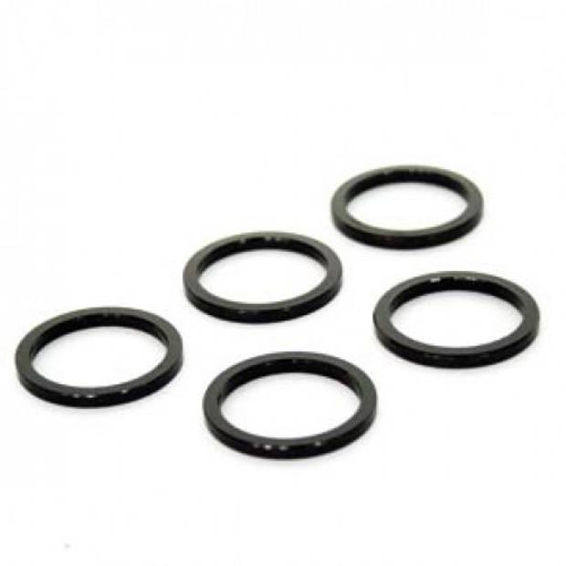TOM spacers 1-1/8 inch 3 mm aluminium zwart 5 stuks