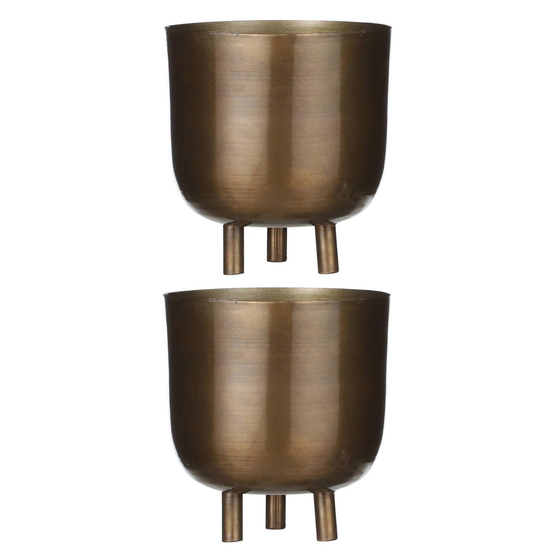 2x Stuks Bloempot Goud Metaal Voor Kamerplant H15 X D13.5 Cm - Plantenpotten