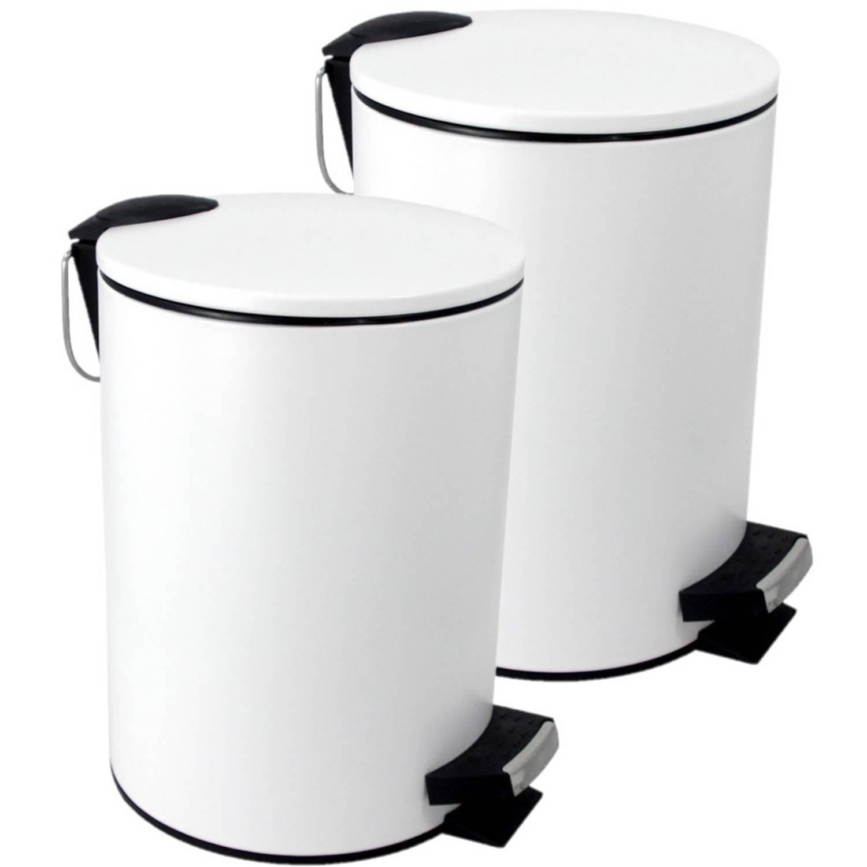 2x Stuks Vuilnisbakken/pedaalemmers Wit 3 Liter 25 Cm - Prullenbakken
