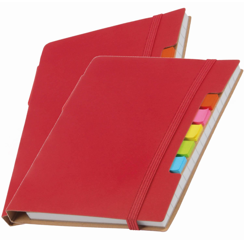Korting Pakket Van 2x Stuks Schoolschriften notitieboeken A5 Gelinieerd Rood Inclusief Pen