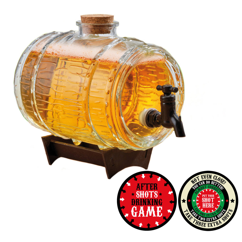 Drankspel Viltjes +Drank Dispensers Ton Op Standaard 24 Cm Verjaardag Cadeau Drankspelletje