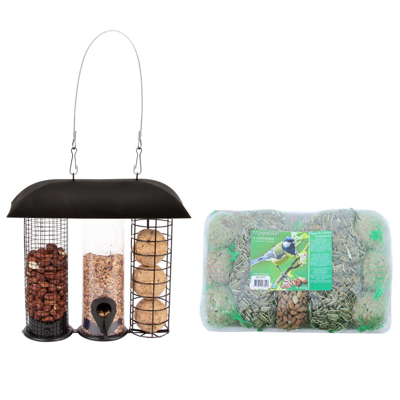 Best For Birds Metalen Drie-in-een Voedersilo Zwart 24 Cm Met Vogelvoer Mixpakket 4 Seizoenen 9 Stuks In Schaal Vogelvoederhuisjes online kopen