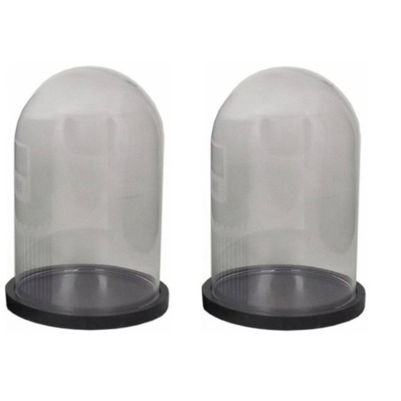 Merkloos 2x Glazen Decoratie Stolpen Op Plateau Zwart 16 Cm - Home Deco Stolpen - Woonaccessoires