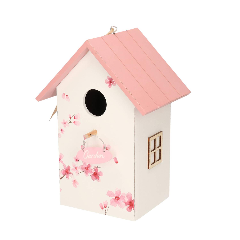Merkloos Nestkast/vogelhuisje Hout Wit Met Roze Dak 15 X 12 X 22 Cm Vogelhuisjes online kopen