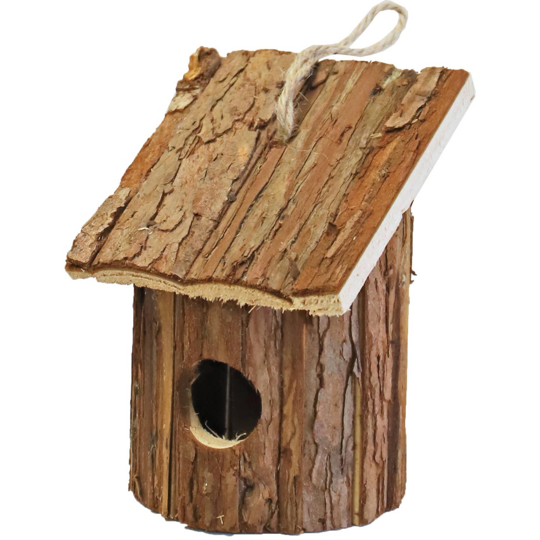 Merkloos Nestkast/vogelhuisje Hout Rond Naturel Bruin 10 X 11 X 16 Cm Vogelhuisjes online kopen