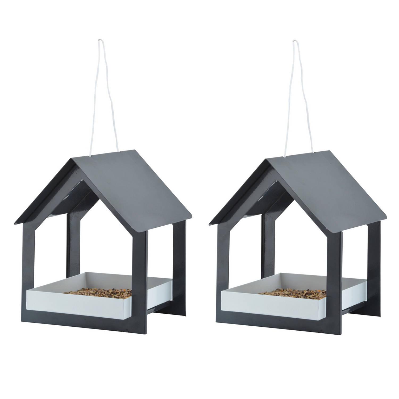 Best For Birds 2x Stuks Metalen Vogelhuisjes/voedertafels Hangend Antraciet 23 Cm Vogelhuisjes online kopen