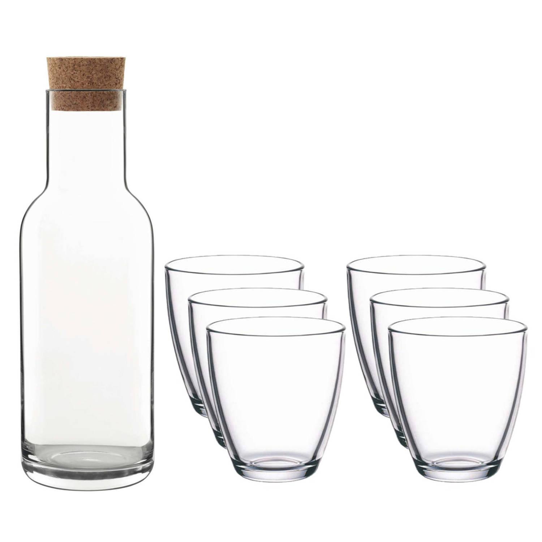 Korting Glazen Karaf schenkkan Met Kurken Dop Van 1 Liter Met 6x Stuks Drinkglazen waterglazen 280 Ml