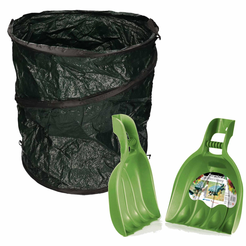 Groene Tuinafvalzak Opvouwbaar 115 Liter Met Een Setje Bladharken tuinafval Grijpers Tuinieren Opharken