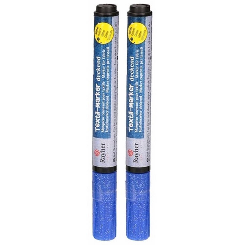 Korting 2x Stuks Blauwe Glitter Textielstift Op Kleding Schrijven Stiften