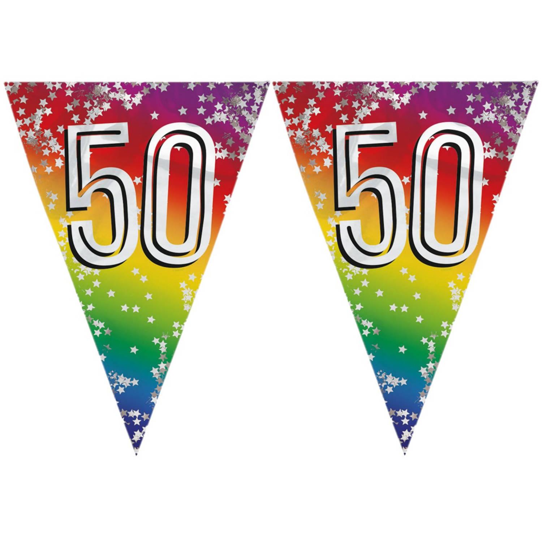 Korting 3x Stuks Vlaggenlijn 50 Jaar Versiering Vlaggetjes Slinger 6 Meter Glitter Folie Binnen buiten Gebruik