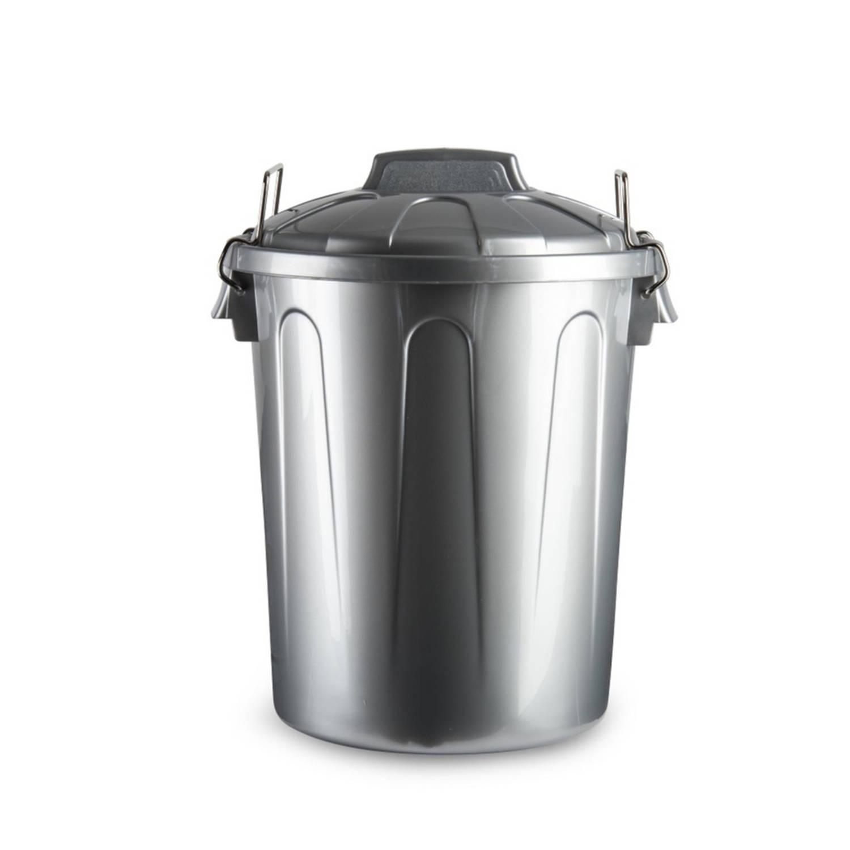 Kunststof Afvalemmers/vuilnisemmers Zilver 21 Liter Met Deksel - Vuilnisbakken/prullenbakken - Kanto