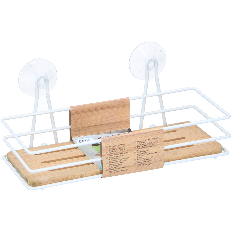 Korting Bath en Shower Doucherek Zonder Boren Hangend Rechthoekig 26,5 X 11 X 10 Cm Ijzer Bamboe Wit
