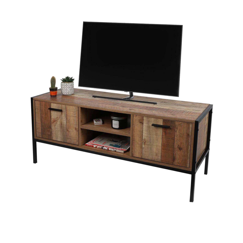Korting Gebor Tv tafel Tv meubel Veel Opbergruimte Met Deurtjes Industriële Look Zwart Naturel