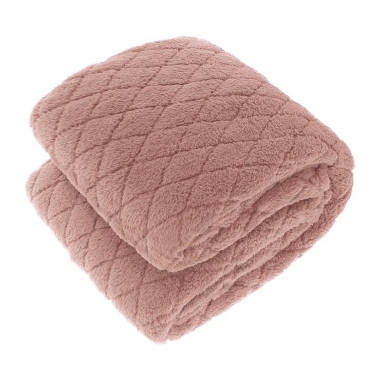 Korting Unique Living Ezra Xl Fleece Plaid 220x240 Cm Old Pink