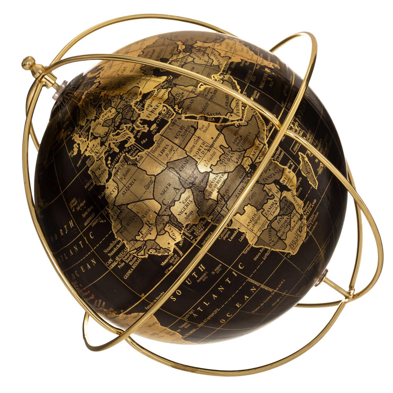 Korting Gebor Wereldbol Globe Vintage Look Bijzonder Design Goud Zwart Kunststof 28x26.5x21cm