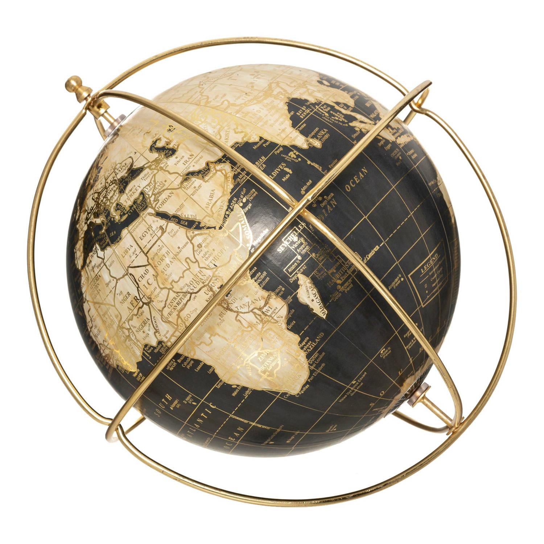 Korting Gebor Wereldbol Globe Vintage Look Bijzonder Design Goud Blauw Kunststof 28x26.5x21cm
