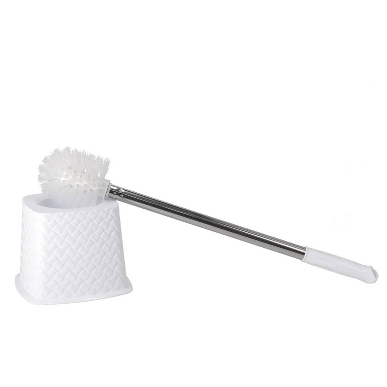 Korting Gebor Praktische Toiletborstelhouder Met Borstel 51x15x15cm Staal wit 2 delig Toilet Badkamer Hygiene
