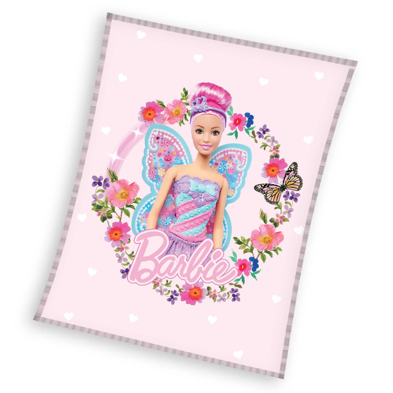 Korting Barbie Fleece Deken Flowers 110 X 140 Cm Polyester