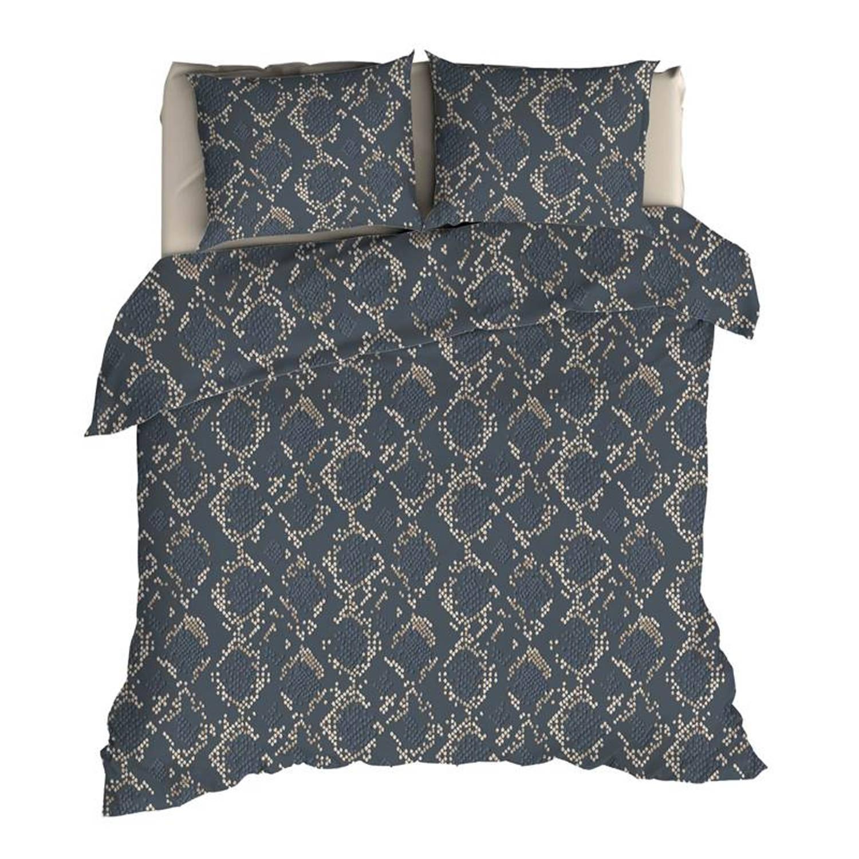 Korting Romanette Bormio Flanel Dekbedovertrek Lits jumeaux (240x200 220 Cm plus 2 Slopen) Flanel Blauw grijs