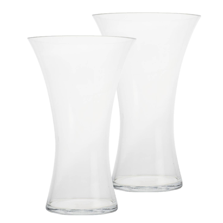 Korting 2x Stuks Trompet Vazen Glas Transparant 19 X 29 Cm Transparante Vazen Van Glas