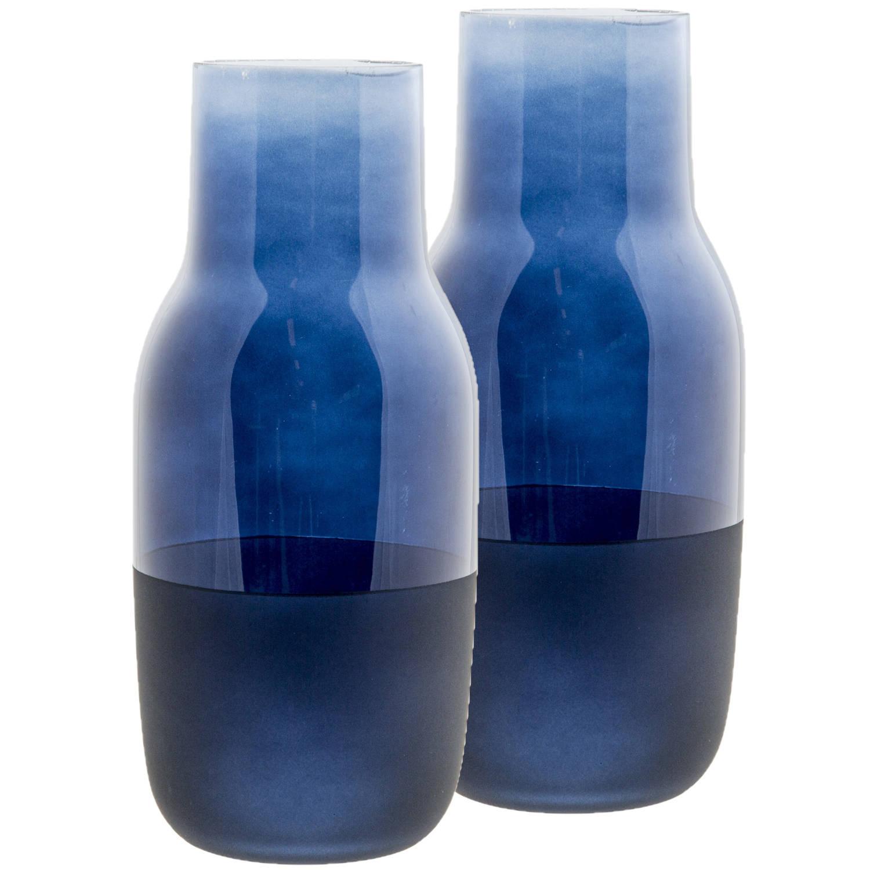 Korting 2x Stuks Flesvazen Glas Blauw 10 X 22 Cm Vazen