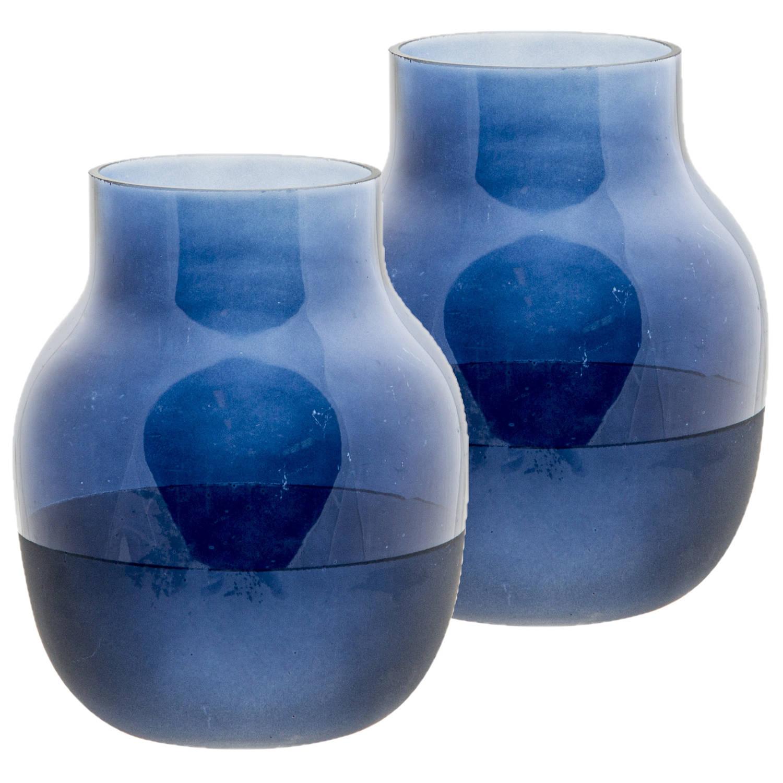Korting 2x Stuks Flesvazen Glas Blauw 15 X 19 Cm Vazen