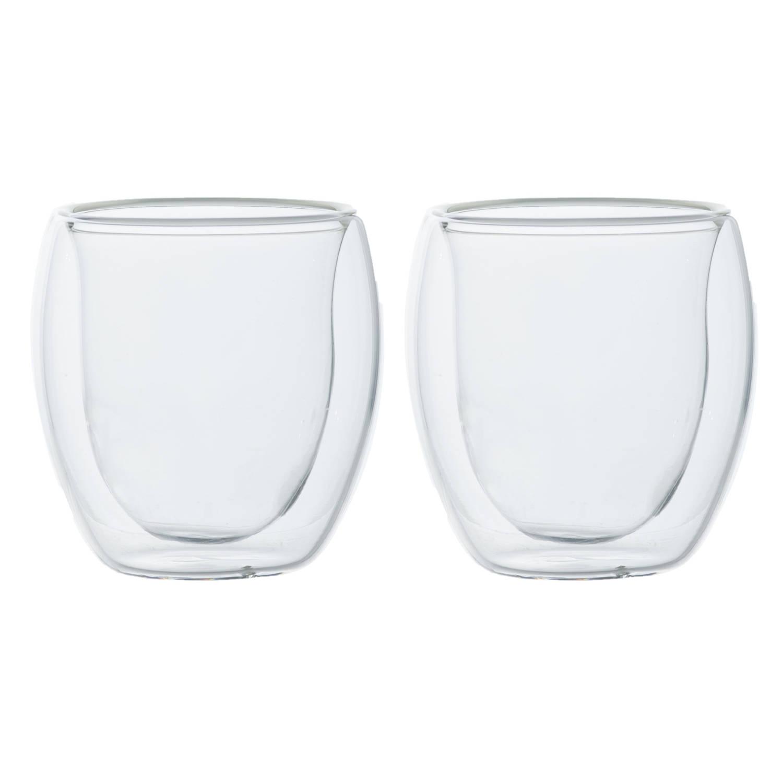 Korting Set Van 2x Dubbelwandige Espresso koffieglaasjes 80 Ml Dubbelwandige Glazen Voor Koffie