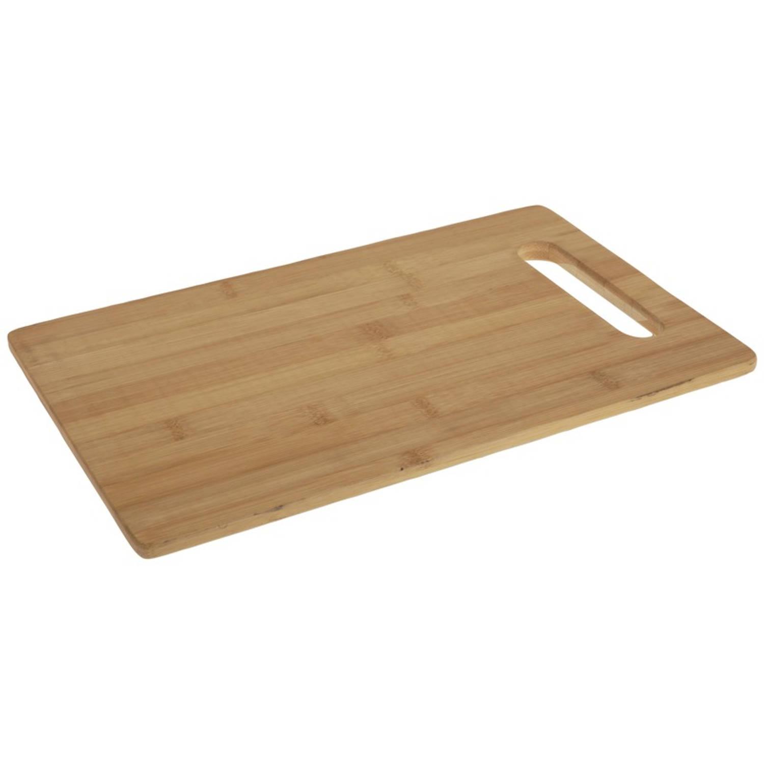 Korting Snijplank Bamboe Hout Rechthoek Met Handvat 36 Cm Snijplanken Voor Groente, Fruit, Vlees En Vis