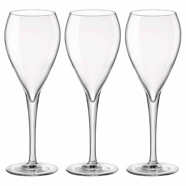 12x Stuks champagneglazen van glas 150 ml - Champagneglazen