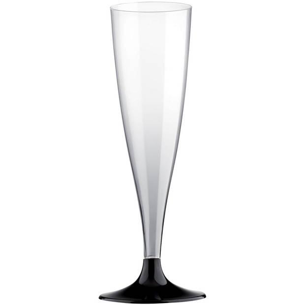10x Champagneglazen/flutes 14 cl/140 ml van kunststof met zwarte voet - Champagneglazen