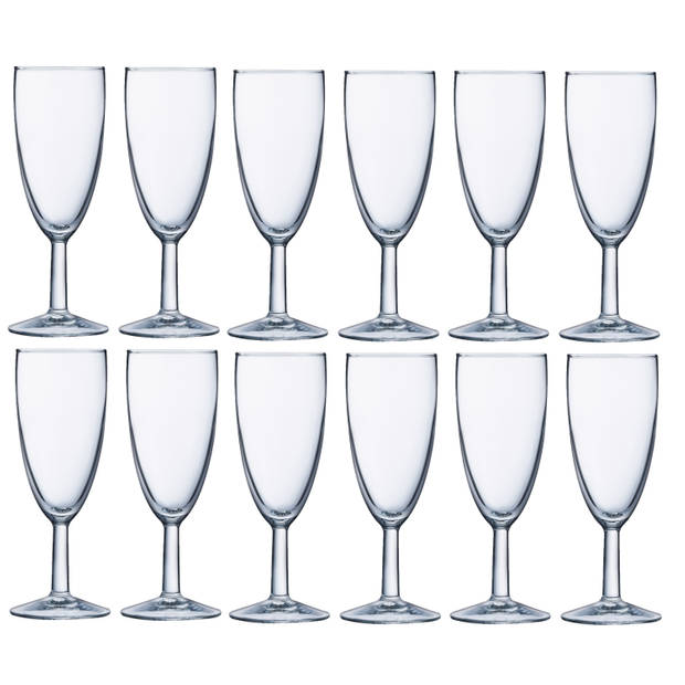 Set van 12x stuks champagneglazen transparant 150 ml