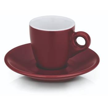 Korting Espresso Kop En Schotel Set, Rood Kela Mattia