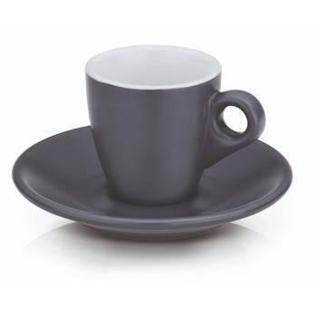 Korting Espresso Kop En Schotel Set, Grijs Kela Mattia