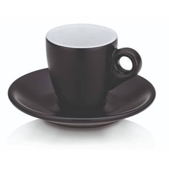 Korting Espresso Kop En Schotel Set, Zwart Kela Mattia