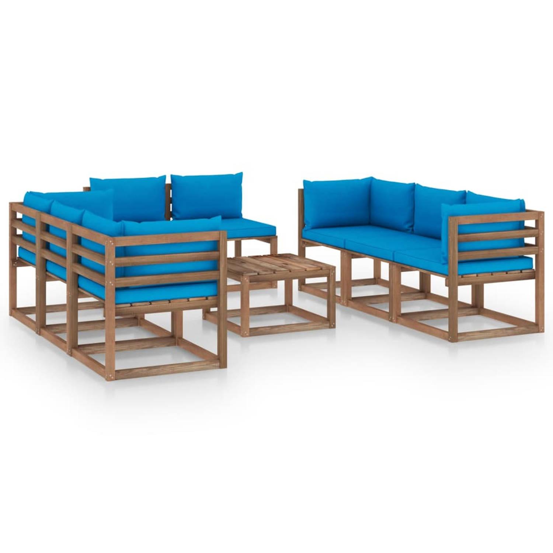 Vidaxl 9-delige Loungeset Met Lichtblauwe Kussens