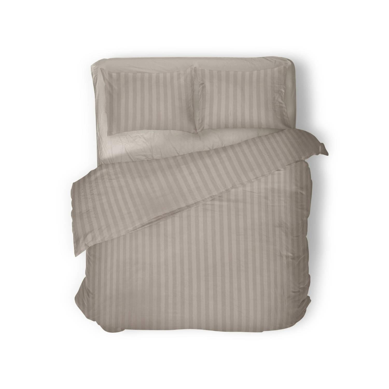 Elegance Dekbedovertrek 200x200-220 Uni Satijn Streep Sand