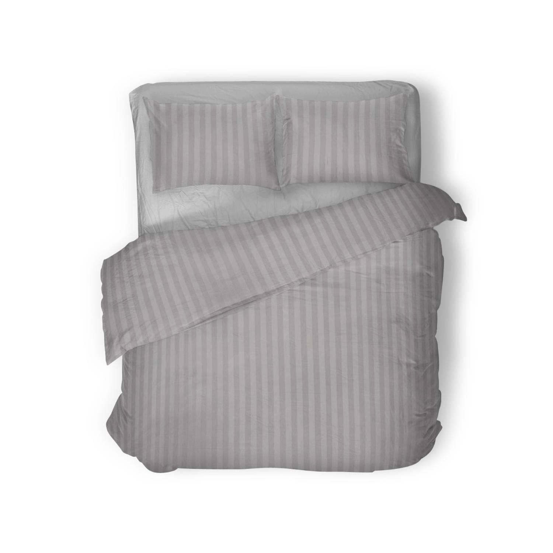 Elegance Dekbedovertrek 140x200-220 Uni Satijn Streep zilver